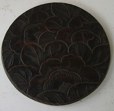 Roundel Relief Floral Foliate Decoration Carved Wood