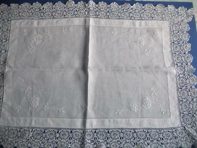 Vintage Embroidered Whitework Tray Cloth, Table Mat - Broad Crocheted Lace Edge