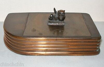 Rare ART DECO 3 Owls PENNZOIL British American OIL Co BOX Be Oil Wise INCREDIBLE