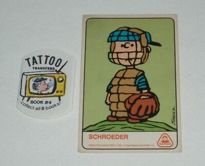 1970's Dolly Madison Schultz PEANUTS Trading Card and Tattoo premiums