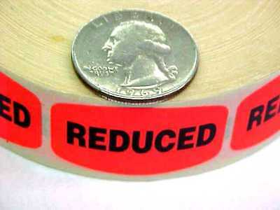 """REDUCED"" MERCHANDISE LABELS 1000 PER ROLL RED STICKER Flea Market Garage Sale"