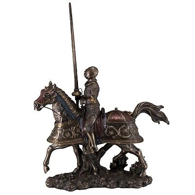 "Medieval Armored Knight & Horse Figurine Statue 14"" High Cold Cast Bronze New"