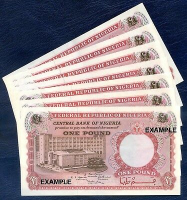 1967 CENTRAL BANK OF NIGERIA : ONE POUND ~ some consecutive numbers available