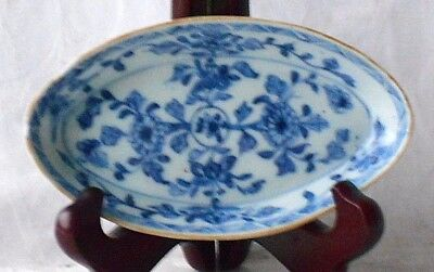 C18Th Chinese Blue And White Oval Dish With A Floral Pattern