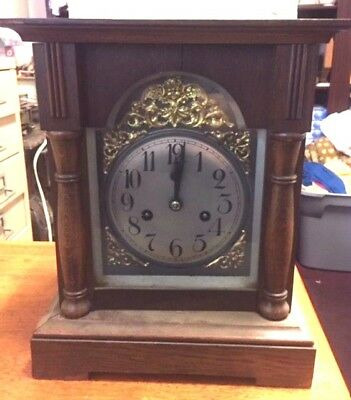 Antique Unbranded Mantle Clock Wood case w/o with .Key