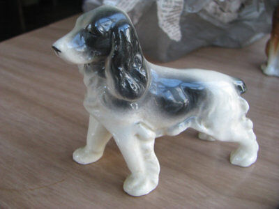 Vintage Spaniel Figurine Occupied Japan Black White Brittany Springer EUC