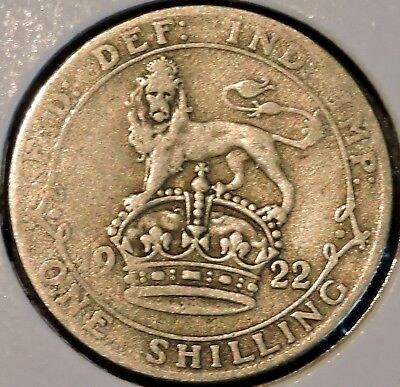 British Silver Shilling - 1922 - King George V - $1 Unlimited Shipping