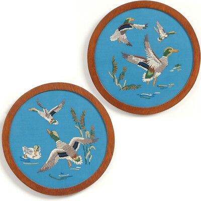 "PAIR of SOLID OAK Round FRAMES 9"" DUCKS in Flight Embroidery Folk Art Game Birds"