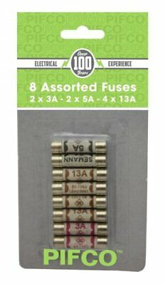 PIFCO Assorted Cartridge Fuses Set 3/5/13 AMP Domestic Fuse Household Mains Plug