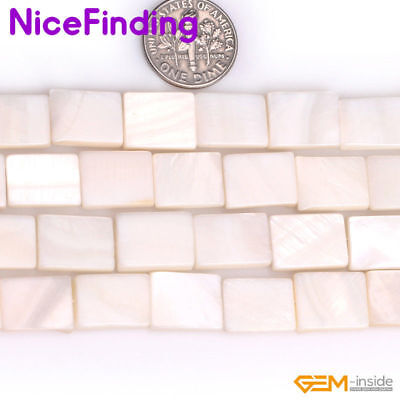 "Natural Rectangle White Sea Shell Stone Beads For Jewelry Making Strand 15"" DIY"