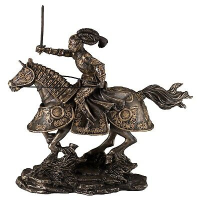 "Medieval Armored Knight & Charging Horse Figurine Statue 10.5""L Cold Cast Bronze"