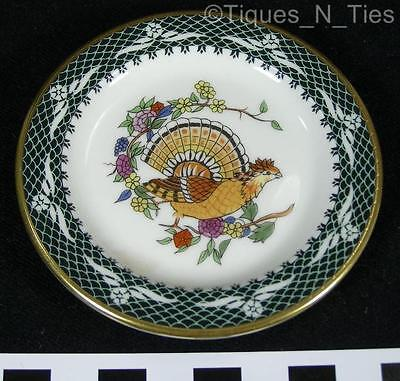 Beautiful Franklin Porcelain Pheasant Bird Green Miniature Butter Pat Plate (FF)