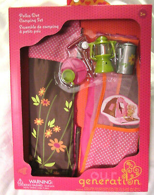 """Our Generation Polka Dot Camping Set 18"""" Girl Doll Tent Play Food Accessories AG"""