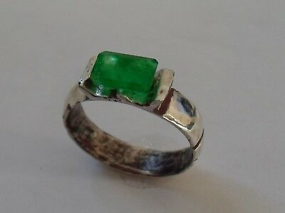 X-Mas Gifts/offers A Superb 200-400 A.d Roman Ar Silver  Ring With Real Emerald.