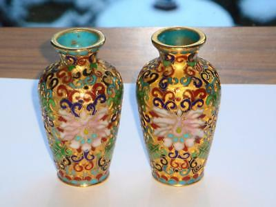 Beautiful & Superb Pair Antique Vintage Chinese Cloisonne Enamel Open Work Vases