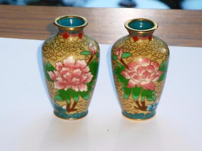 Superb Pair Antique Vintage Chinese Cloisonne Enamel Vases Nice Quality Pieces