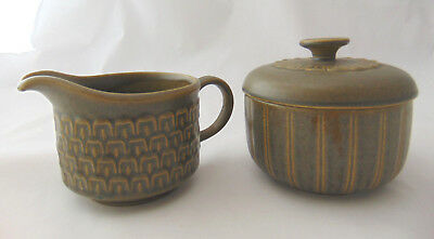 WEDGWOOD Cambrian Green Ceramic Sugar Bowl with Lid & Creamer 2pc