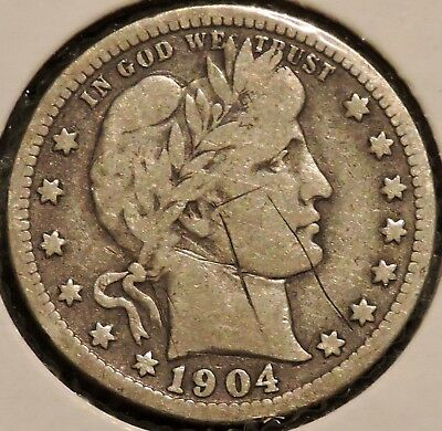 Barber Quarter - 1904 (scratched) - Historic Silver! - $1 Unlimited Shipping.