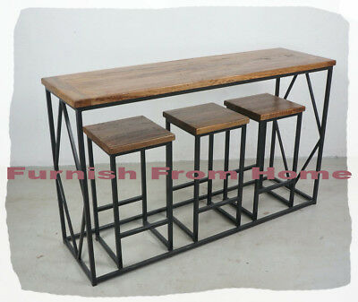 Annadale 4 Piece Steel & Hardwood Bar Setting   - BRAND NEW