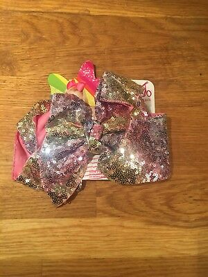 JoJo Siwa large pink, lilac, yellow & green sequin hair bow. New with tags.
