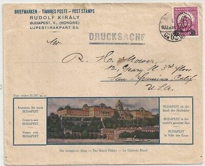 1931 Hungary 6f on 8f Overprint Budapest Cover to San Francisco Royal Palace