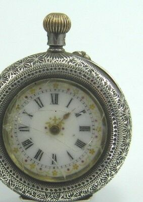 Antique Swiss .935 silver cased crown wind fob pocket watch spares & repairs