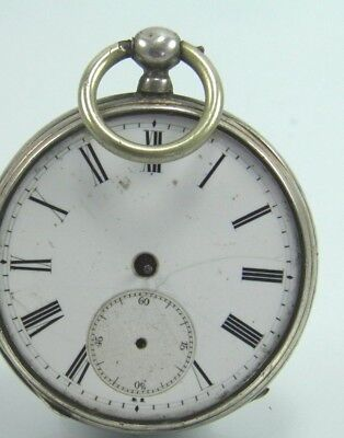 Antique late 19th century silver cased key wind pocket watch spares & repairs