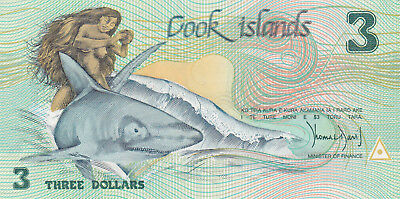 3 Dollars Aunc-Unc Banknote From Cook Islands 1987!pick-3