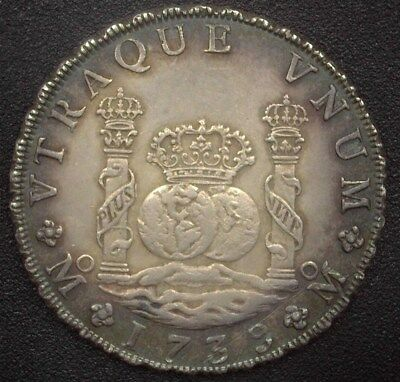 Mexico 1739-Momf Silver 8 Reales  Km#103 Choice Uncirculated  Very Rare Unc!!