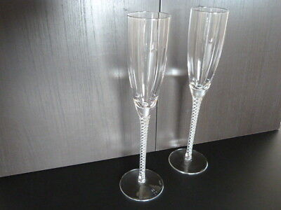 Stuart Crystal Tall Champagne Flutes With Air Twist Stems X2.(12.5 Inches Tall!)