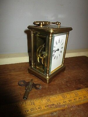 Antique French Brass Carriage Clock.bevelled Glass sides and top. Running + key