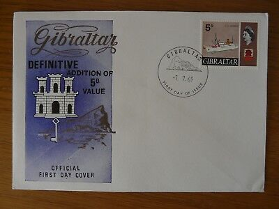 1969, GIBRALTAR, ADDITIONAL DEFINITIVE VALUE 5d , FIRST DAY COVER.