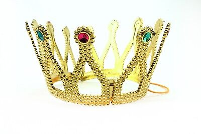 Gold Royal King Queen Jeweled Plastic Crown Prince Costume Accessory Adult/Kid
