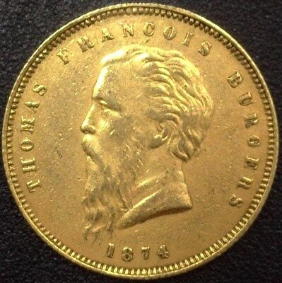 South Africa 1874 Gold Pond -Fine Beard- Km#1.2 Nearly Uncirculated Very Rare!