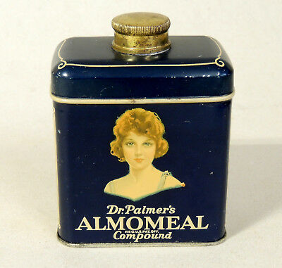 Antique vtg Art Deco Cosmetic Soap TIN c1920s Flapper Girl Talcum Powder Bottle