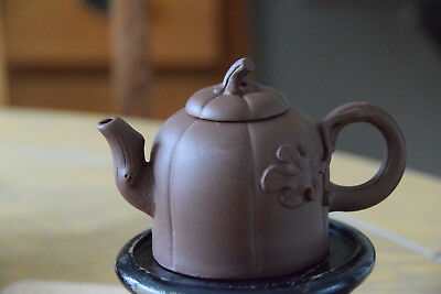 Miniature Chinese Yixing Pumpkin Shaped Tall Teapot Decorated With Oak Leaves