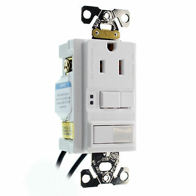 Hubbell Gfspst15Wz Combo Gfci Outlet & 1P Switch, Self-Test, 15A, 120V, White