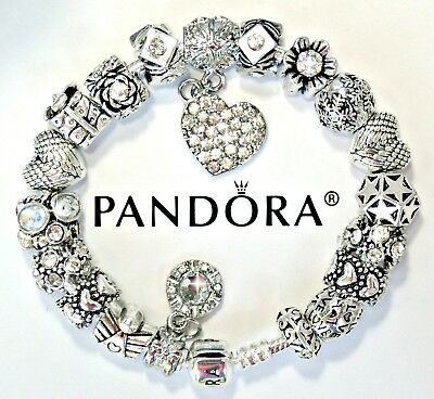 Authentic Pandora Silver Charm Bracelet with Heart Angel European Charms 8.3