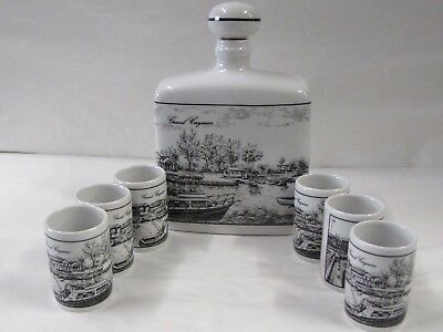 West German Altenkunstadt Porcelain Decanter And Six Cups Pen & Ink Style