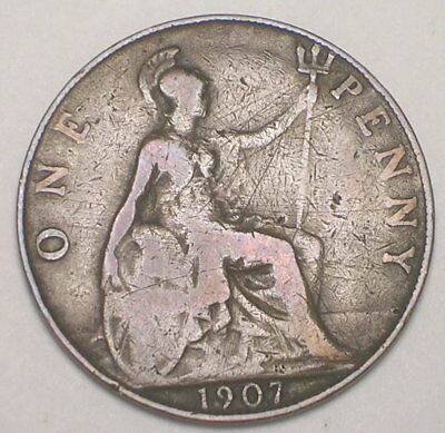 1907 UK Great Britain British One 1 Penny Edward VII Coin