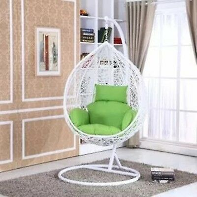 PE Rattan White Outdoor Free Standing Hanging Egg Swing Chair