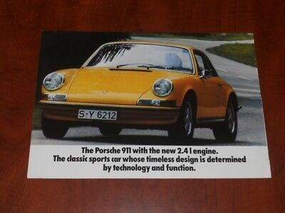 1972 Porsche Early 911 Sales Folder Brochure Literature 2.4 liter