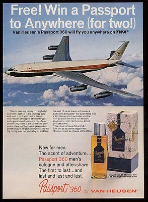 1967 TWA airlines plane flying color photo Passport 360 cologne vintage print ad