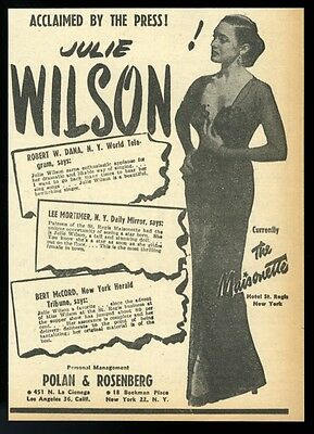 1949 Julie Wilson photo music business trade booking ad