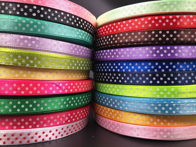 "10Yards 3/8"" 10mm Bulk Polka Dot Ribbon Satin Craft Wedding Supplies pick color"