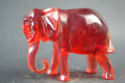 Fine Collectible Red Amber Resin Handwork Exquisite Elephant Statue