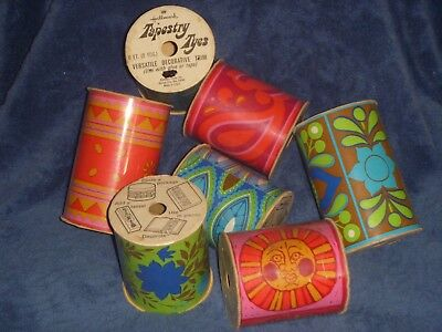 Tapestry Ties 7 Rolls Retro Mid Century Decorative Colorful Paper by Hallmark
