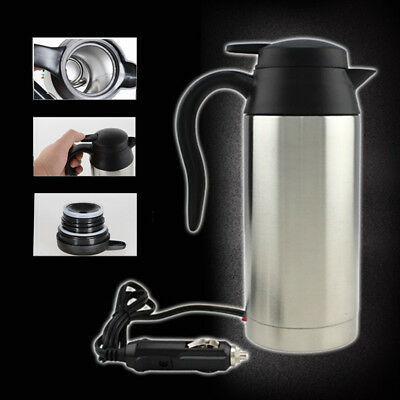 750ml Stainless Steel Car Van Water Boiler Kettle Bottle Cigarette Lighter 12V