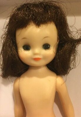 "Vintage BETSY McCALL Doll 8"" Rare Brunette  Hair & Barrettes"
