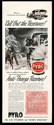 1941 Super Pyro anti freeze heavy snow art vintage print ad